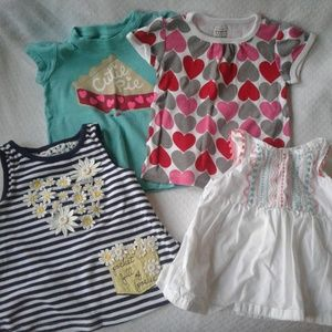 Other - Girls Play Shirts 12m Short Sleeves Hearts Cutie